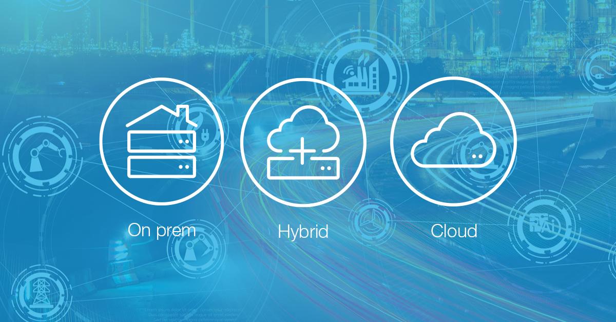 On prem, Hybrid or Cloud storage icons